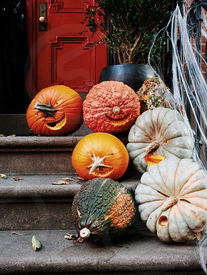 pumpkins on stairway photo