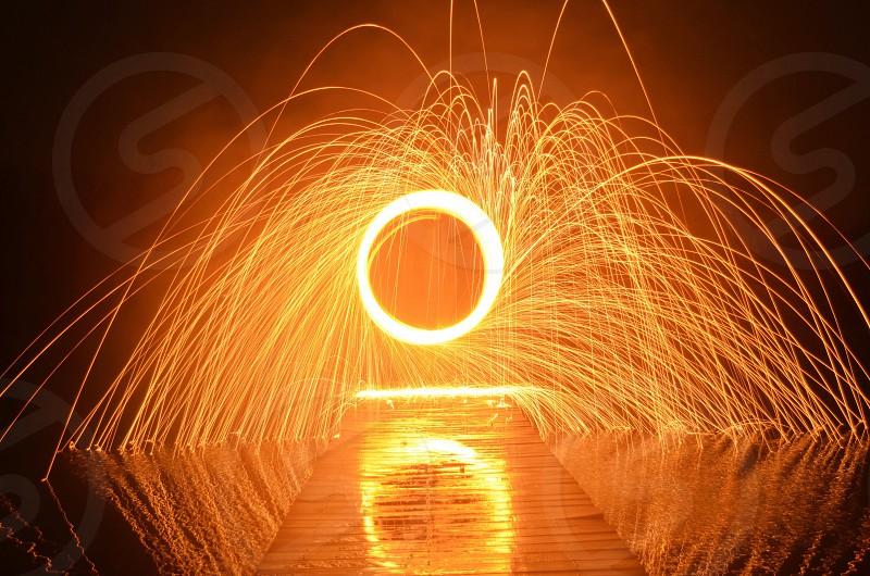 red fireworks sprinkling photo