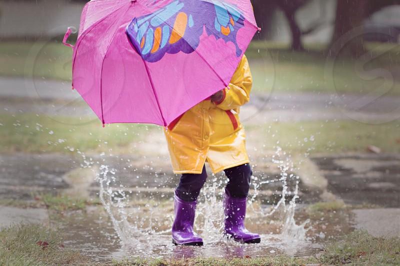 Portraits children rain outdoors  photo