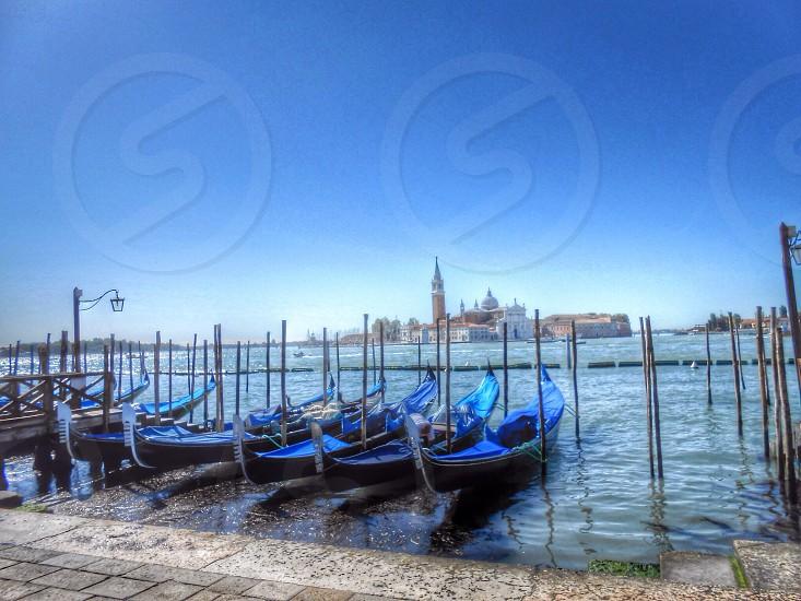Gondolas in Venice Italy.  photo