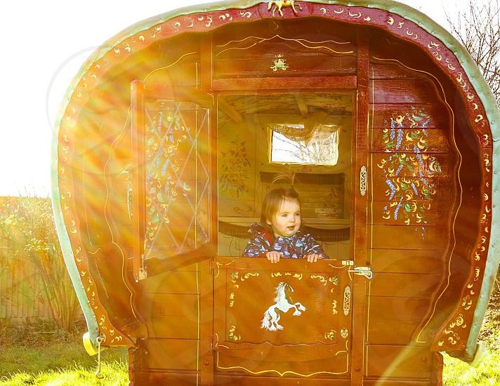 Rustic gypsy caravan child rural England  photo