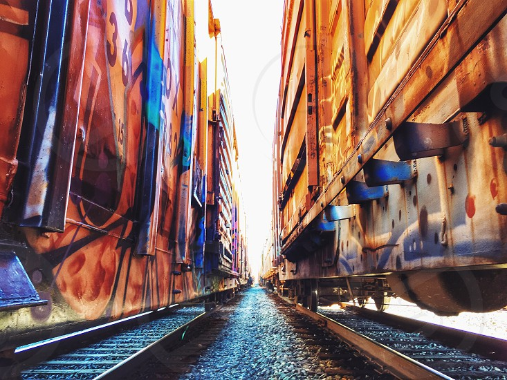 Boxcar graffiti.  photo