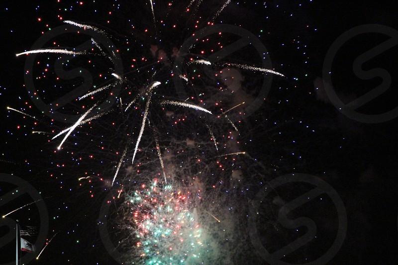 Fireworks American flag photo