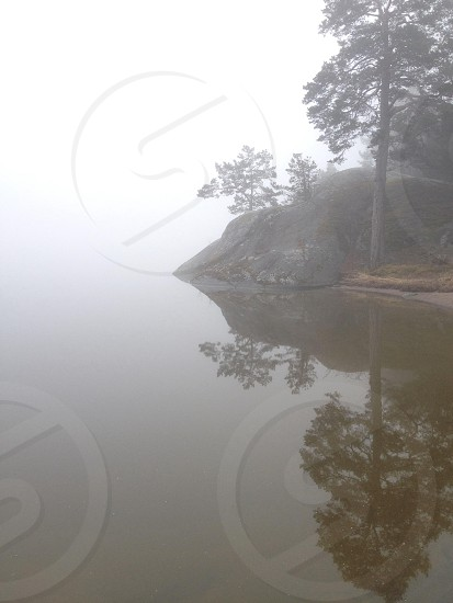 view of the foggy lake photo