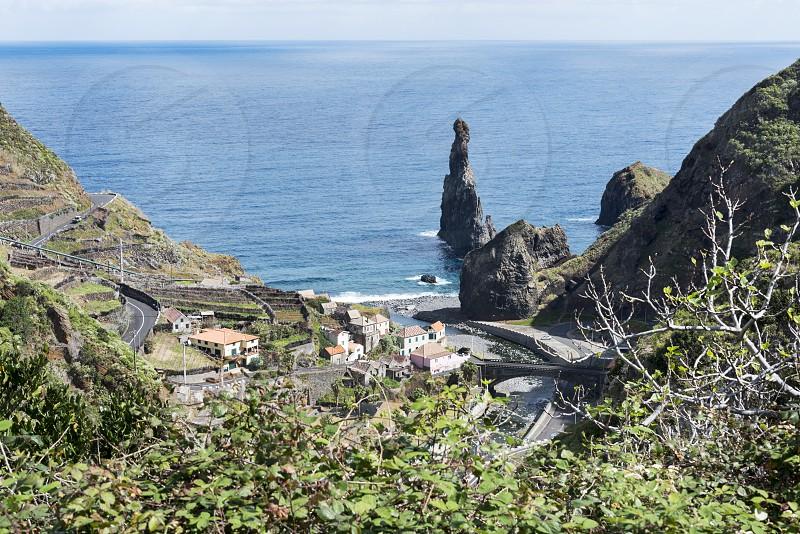 the north coastlime of Mdeira near Porto Moniz with the atlantic ocean photo