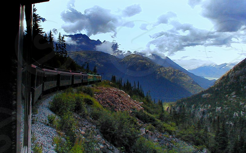 Mountain view from a train in Alaska photo