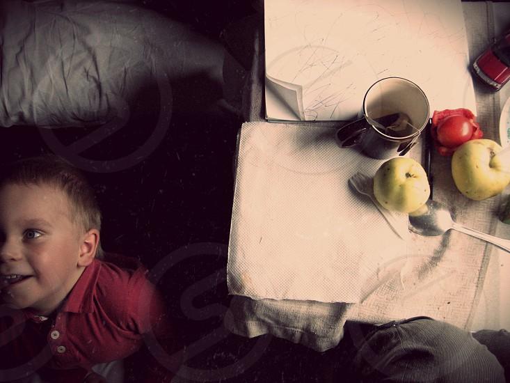 train. travel compartment kid boy breakfast photo