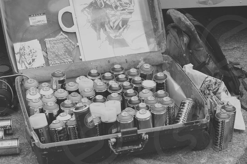 Graffiti artist spray cans black & white edit Artist tools photo
