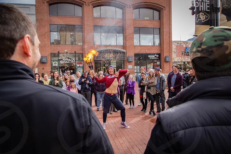 Busker performing Perl Street Boulder Colorado USA photo