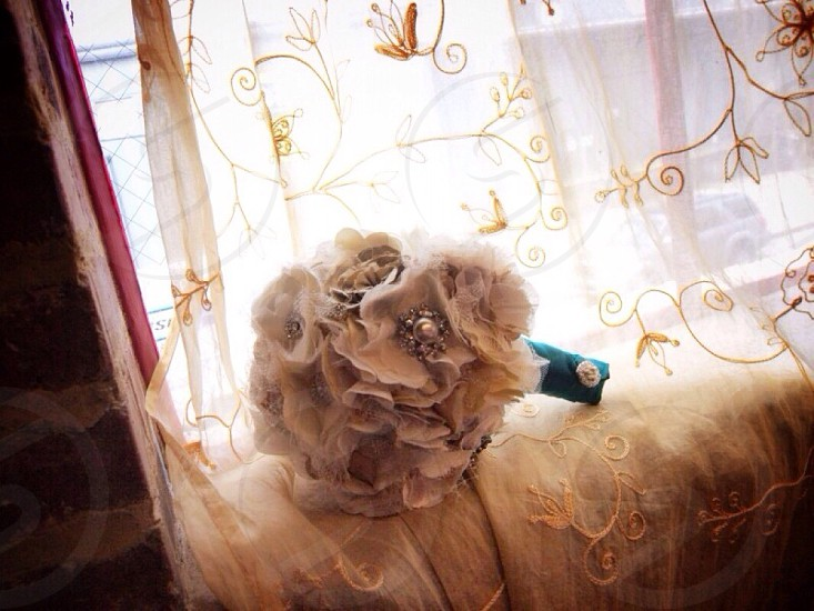 white wedding bouquet fabric flower photography  photo