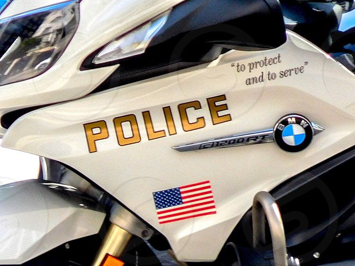 LAPD City of Los Angeles Protect and Serve American flag Police Bike-patrol BMW  photo