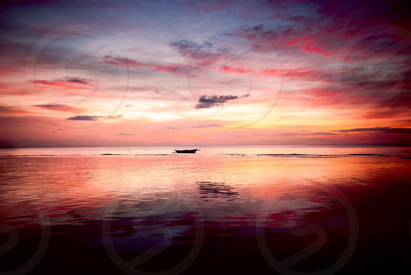 sunset sea seascape colors water sky clouds nature beauty travel adventure dawn seaside shore Philippines landscape photo