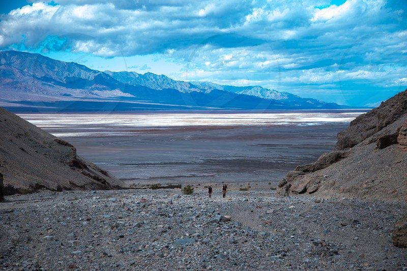 Two hikers in Death Valley National Park California photo