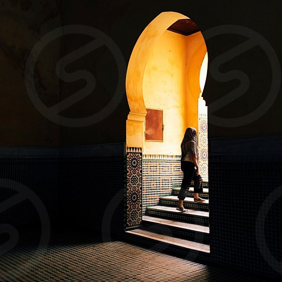 woman ascending a stair photo