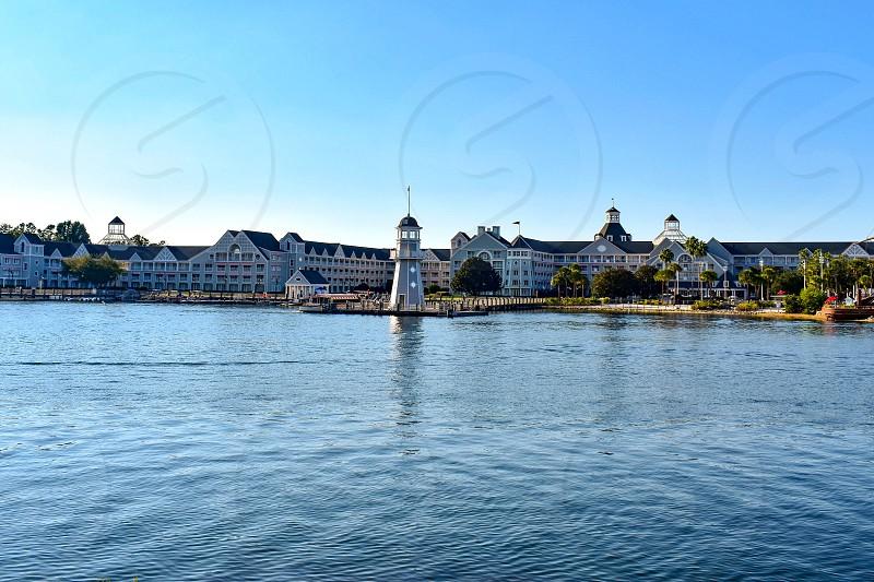 Orlando Florida. February 09 2019 Panoramic view of lighthouse and Village Hotel at Lake Buena Vista area  (1) photo