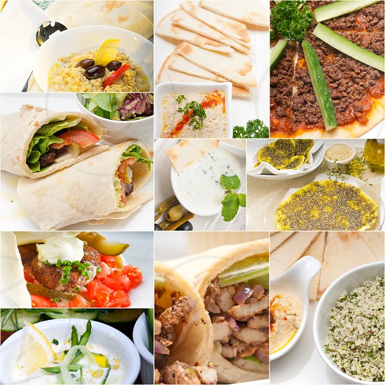 most popular Arab middle east food collectionhummus falafelmutabalpita bread photo