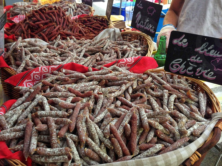 French open air market small sausages  photo