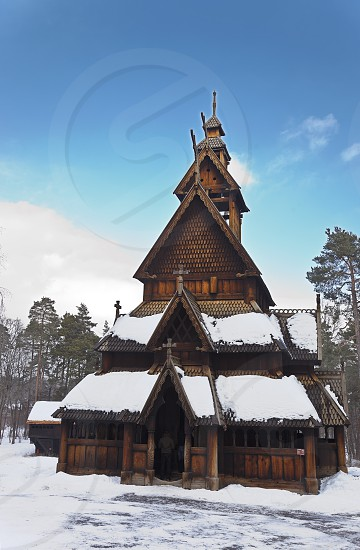 stavkirke wood church in norsk folkemuseum.oslo photo