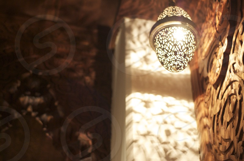 Moroccan lantern inside of a home in Fez photo