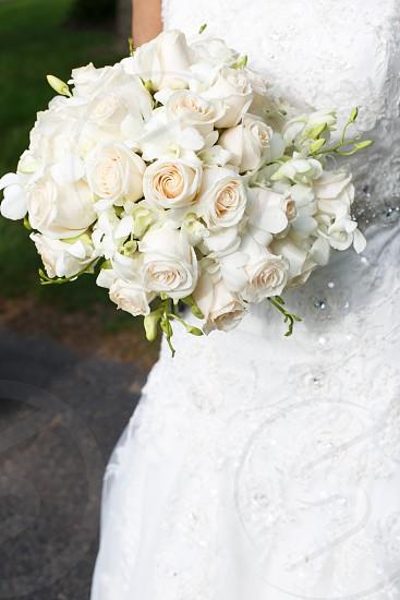 bride holding white rose flower bouquet photo