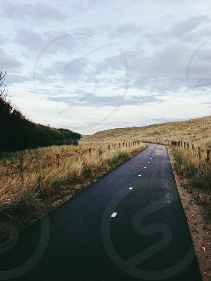 gray asphalt road and brown grass photo