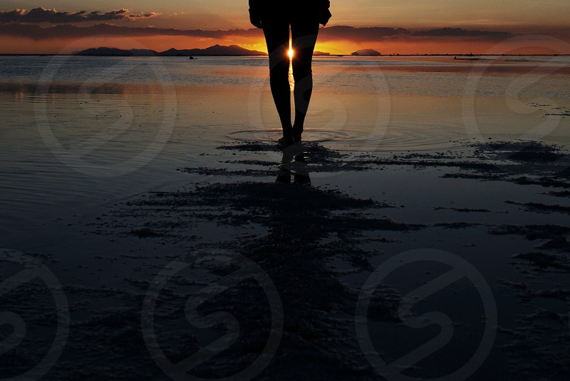 silhouette of person standing on shore during sunset photo