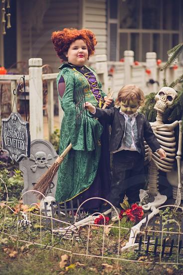 Child witch Hocus Pocus halloween autumn children siblings  photo