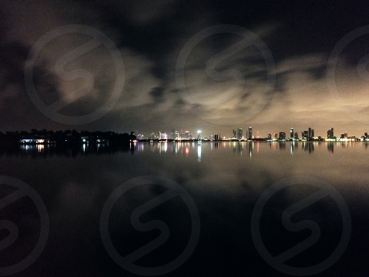 skyline on lake photo