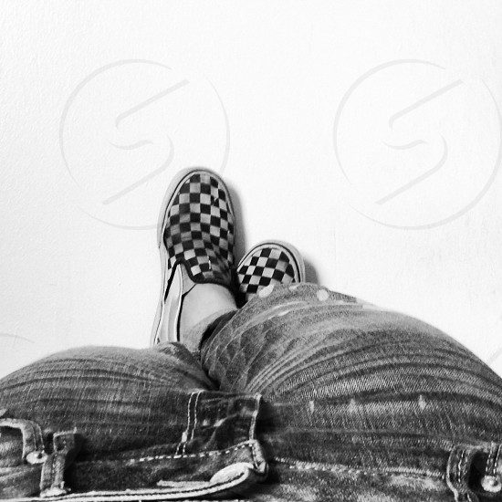 old school checkered vans n jeans photo