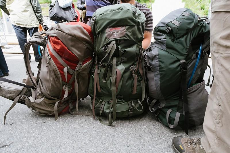 Three hiking packs lined up photo