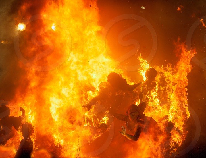 Crema in Fallas of Valencia on March 19 night all figures are burned as end of celebration photo