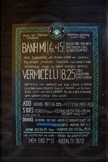 black and blue menu board photo