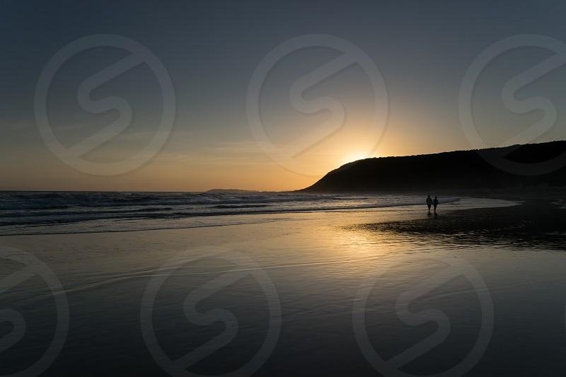 Landscape sunset mountain sea ocean reflections blue sky water beach beach walks south africa photo