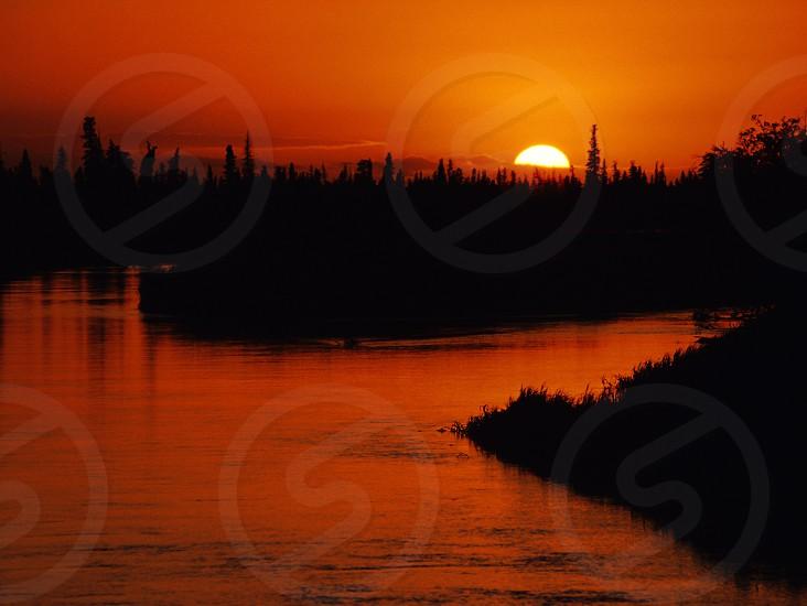 Sunset on the Alagnak River Alaska. photo