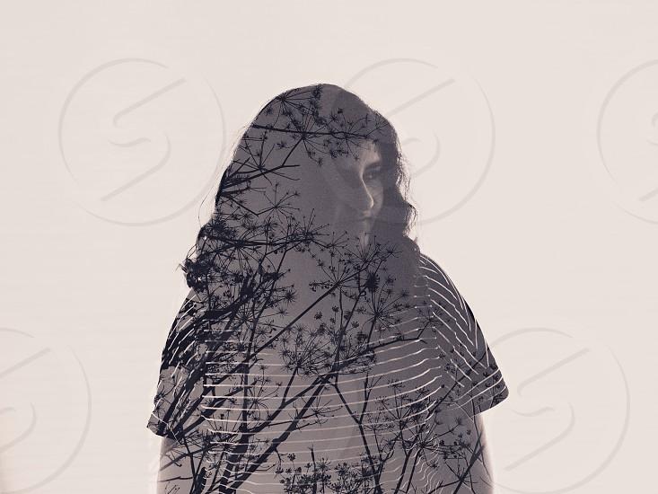 women's black and white striped shirt photo