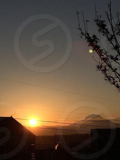 Mount Rainier Sun rise photo