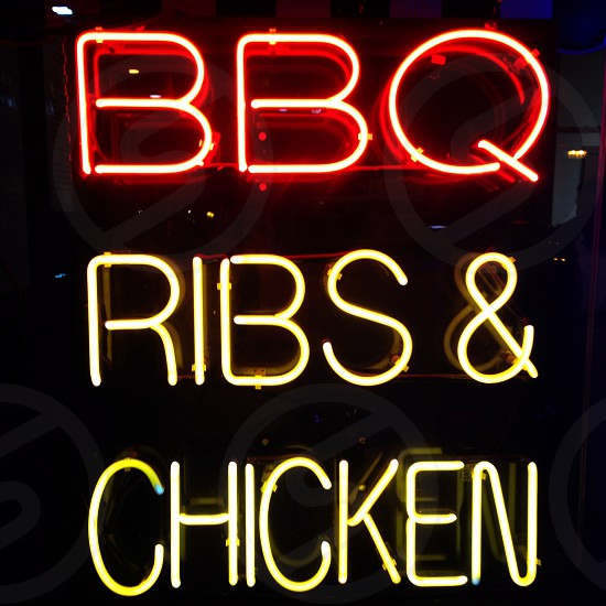 red and yellow bbq ribs & chicken lights  photo