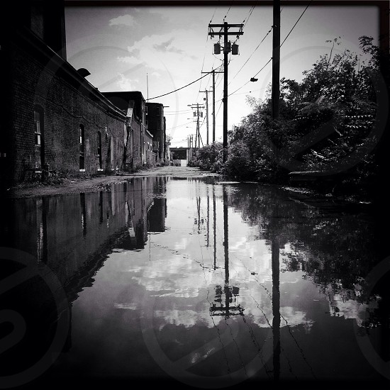 Black and white reflection fine art industrial  photo