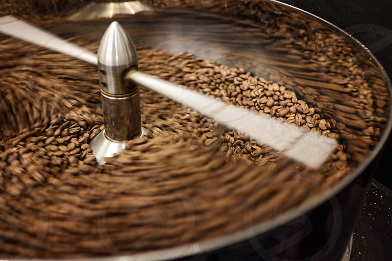 Coffee beans cooling after being roaster.  photo