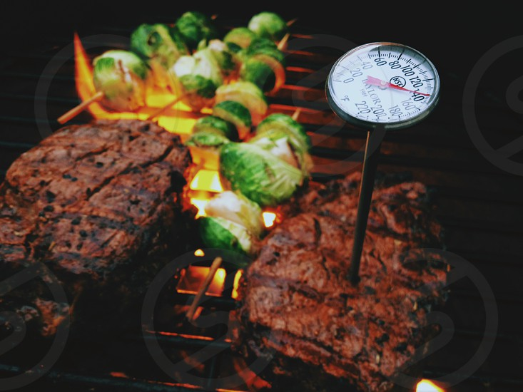 Grilling meats and vegetables. photo