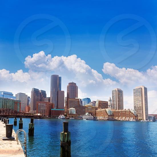 Boston Massachusetts skyline from Fan Pier in USA photo