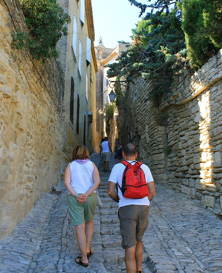 Exploring the streets through Gordes in Provence. photo