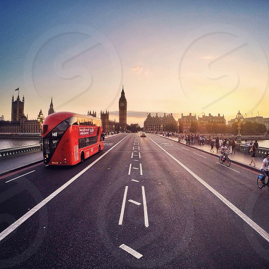 GoPro Hero3+ shot taken on Westminster Bridge  at sunset looking down towards Big Ben and The Houses Of Parliament photo
