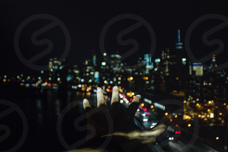 New York City night view city scape blurred  photo