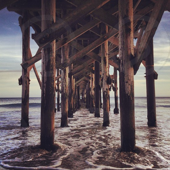 wooden beach bridge frame photo