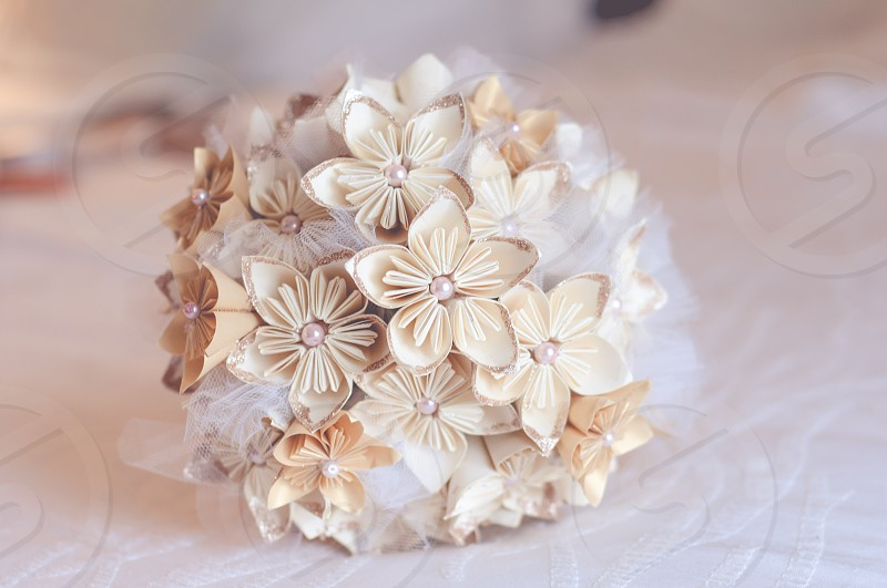 white round bouquet of flowers photo