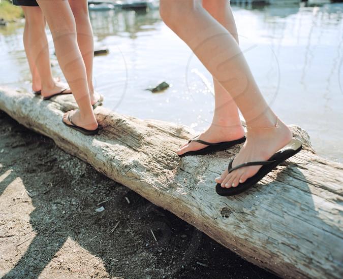 black flip flops photo