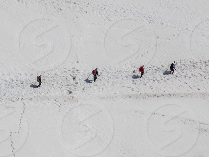 Walkers trekking on top of Mont Blanc Massif France photo