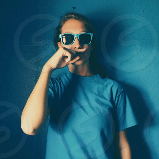 blue framed sunglasses photo
