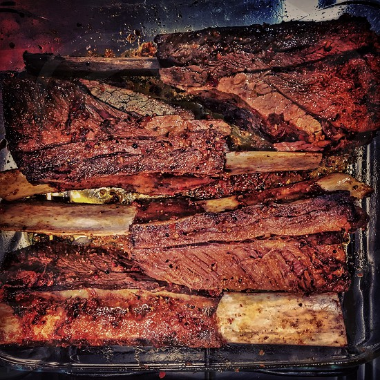 Beef ribs short ribs food BBQ barbecue smoker slow and low photo
